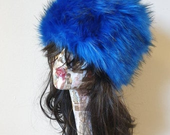 Royal Blue Long Luxury Faux Fur Hat with Cosy Polar Fleece Lining-Fur Hat-Fake Fur Hat-Winter Hat-Long Fur Hat-Cossack Hat-Blue Fur Hat