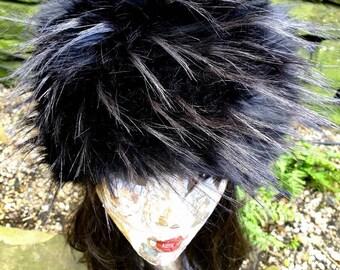 Hollywood Black Textured Faux Fur Hat- Cosy Polar Fleece Lining- Statement Piece-Russian Hat-Fur Hat-Fake Fox Fur-Fake Fur Hat-Black Fur Hat