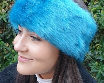 Short Aqua Blue Luxury Faux Fur Headband / Neckwarmer / Earwarmer-Head Wrap-Fur Head Wrap- Handmade in Lancashire England