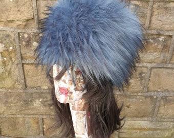 Extra Long Denim Blue/Black Faux Fur Hat- Cosy Polar Fleece Lining- Statement Piece-Russian Hat-Fur Hat-Fake Fox Fur-Fake Fur Hat-Winter
