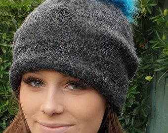 Grey Wool Blend Slouchy Hat with Large Turquoise Pom Pom. Fully lined with Polar Fleece