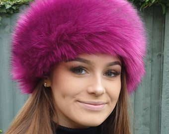 Super Luxury Long Magenta Faux Fur Headband- Neckwarmer-Earwarmer-Head Wrap-Fur Head Wrap-Handmade in Lancashire England