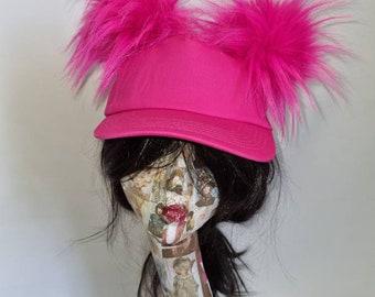 Fabulous Fuscia Fluffy Pom Pom Baseball Cap- Pink Pom Pom Hat