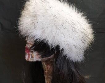 White with Black Tips Faux Husky Fur Headband / Neckwarmer / Earwarmer Handmade in Lancashire England
