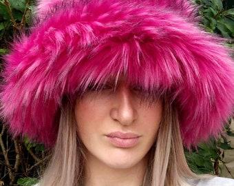 Super Fluffy Magenta Pink Luxury  Faux Fur Bucket Hat-Deep Blue-Fuzzy Bucket Hat-Festival Hat-Fur Hat-Fake Fur Hat-Rave Hat-Blue Bucket Hat