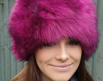 Super Luxury Magenta Faux Fur Hat with Polar Fleece Lining-Fur Hat-Fake Fur Hat-Winter Hat-Long Fur Hat-Cossack Hat-Pink Fur -Pink Hat