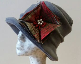 Gorgeous Gray Fleece Hat with Tweed Corsage/Brooch
