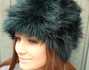 Bottle Green/Black Faux Fur Russian Style with Cosy Polar Fleece Lining