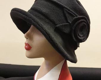Black Fleece Hat Lined with Polar Fleece-Downton Abbey Hat-Womens Fleece Hat-Womens Fleece Winter Hat-1930's-Vintage Hat-Ladies Winter Hat