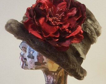 Lady Mary style 20's Cloche Hat. Choose a Red,Lilac or Gray Flower Brooch Decoration
