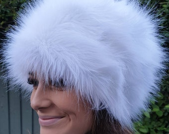 Ice White Faux Fur Hat Russian Style with Cosy Polar Fleece Lining-Fur Hat-Fake Fur Hat-Winter Hat-Long Fur Hat-Cossack Hat-White Fur Hat
