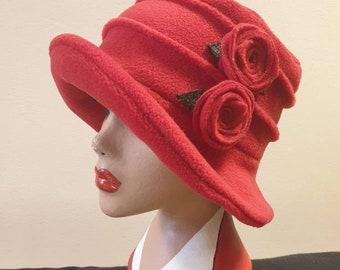 Flower Trimed Red Fleece Hat-Polar Fleece Lining-Downton Abbey Hat-Womens Fleece Hat-Womens Fleece Winter Hat-1930's-Ladies Winter Hat