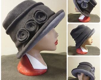 Dark/Light Grey Hat Lined with Polar Fleece-Downton Abbey Hat-Womens Fleece-Womens Fleece Winter Hat-1930's-Vintage Hat-Ladies Winter Hat