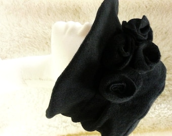 Handmade Black  Fleece Hat With Cosy Fleece Lining and Black Fleece Flowers