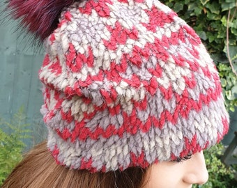 Wine and Grey Fleece Slouchy Hat with Large Red Pom Pom.Fully lined with Polar Fleece