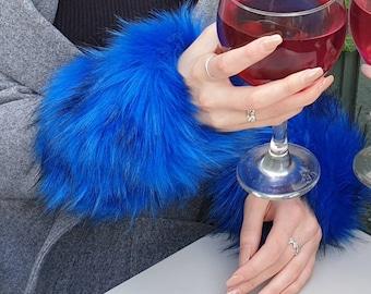Royal Blue Luxury Faux Fur Cuffs- Faux Suede Lining- Elasticated at One End-Wrist Cuffs-Faux Fur Cuffs-Fluffy Cuffs-Fur Cuffs-Jacket Cuffs