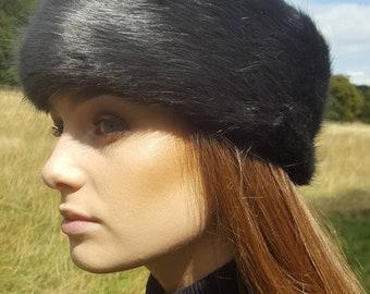 Super Luxury Dark Grey Faux Fur Headband-Neckwarmer-Earwarmer-Head Wrap-Fur Head Wrap-Handmade in Lancashire England