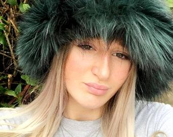 Bottle Green/Black Fuzzy Bucket Hat-Festival Hat-Floppy Hat-Fur Hat-Fake Fur Hat-Rave Hat- Green Bucket Hat-Green Fur Hat-vegan friendly hat
