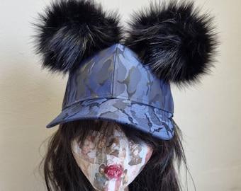 Blue Camouflage Baseball Cap with Pom Poms-Pom Pom Hat-Double Pom Pom Hat
