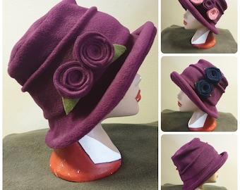 Plum Fleece Hat Lined with Polar Fleece-Downton Abbey Hat-Womens Fleece Hat-Womens Fleece Winter Hat-1930's-Vintage Hat-Ladies Winter Hat