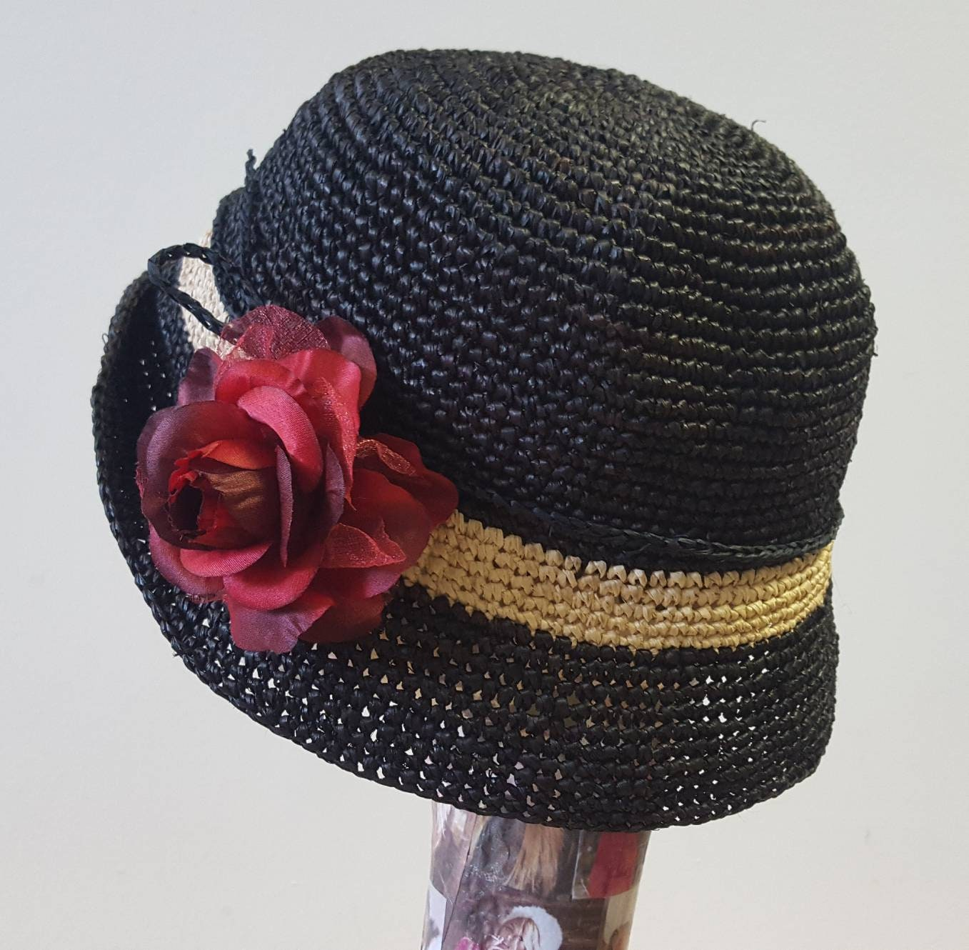 b307c26c3 Crochet Raffia Hat in Black or Chocolate with Silk and Velvet Red ...