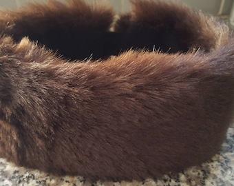 Chocolate Faux Fur Headband-Neckwarmer-Earwarmer-Head Wrap-Fur Head Wrap- Handmade in Lancashire England