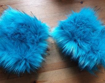 Aqua Blue Luxury Faux Fur Cuffs- Faux Suede Lining- Elasticated One End-Wrist Cuffs-Faux Fur Cuffs-Fluffy Cuffs-Fur Cuffs-Jacket Cuffs
