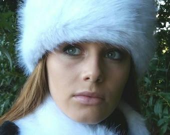 Super Luxury White Faux Fur Hat with Polar Fleece Lining