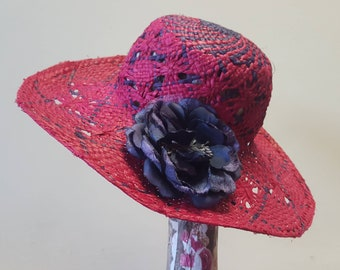 Beautiful Fuscia and Purple Raffia Woven Hat with Wide Brim and Large Flower Detail