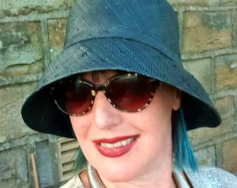 Black Raffia Cloche 20's Style Sun Hat