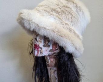 Cream Shades Luxury Faux Fur Bucket Hat-Festival Hat-Floppy Hat-Fur Hat-Fake Fur Hat-Rave Hat-Cream Fur Hat