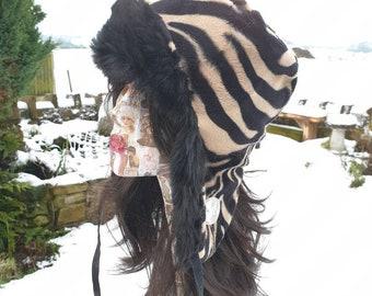 Gold Zebra Print Faux Trapper-Faux Fur and Fleece Lining-Animal Print Trapper-Fur Trapper-Zebra Print-Antelope Print- Trapper Hat
