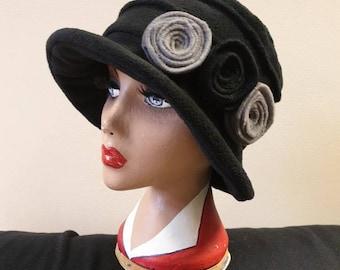 Black Fleece Hat-Downton Abbey Hat-Womens Fleece Hat-Womens Fleece Winter Hat-1930's-Vintage Hat-Ladies Winter Hat-Cloche Hat-Flapper Hat