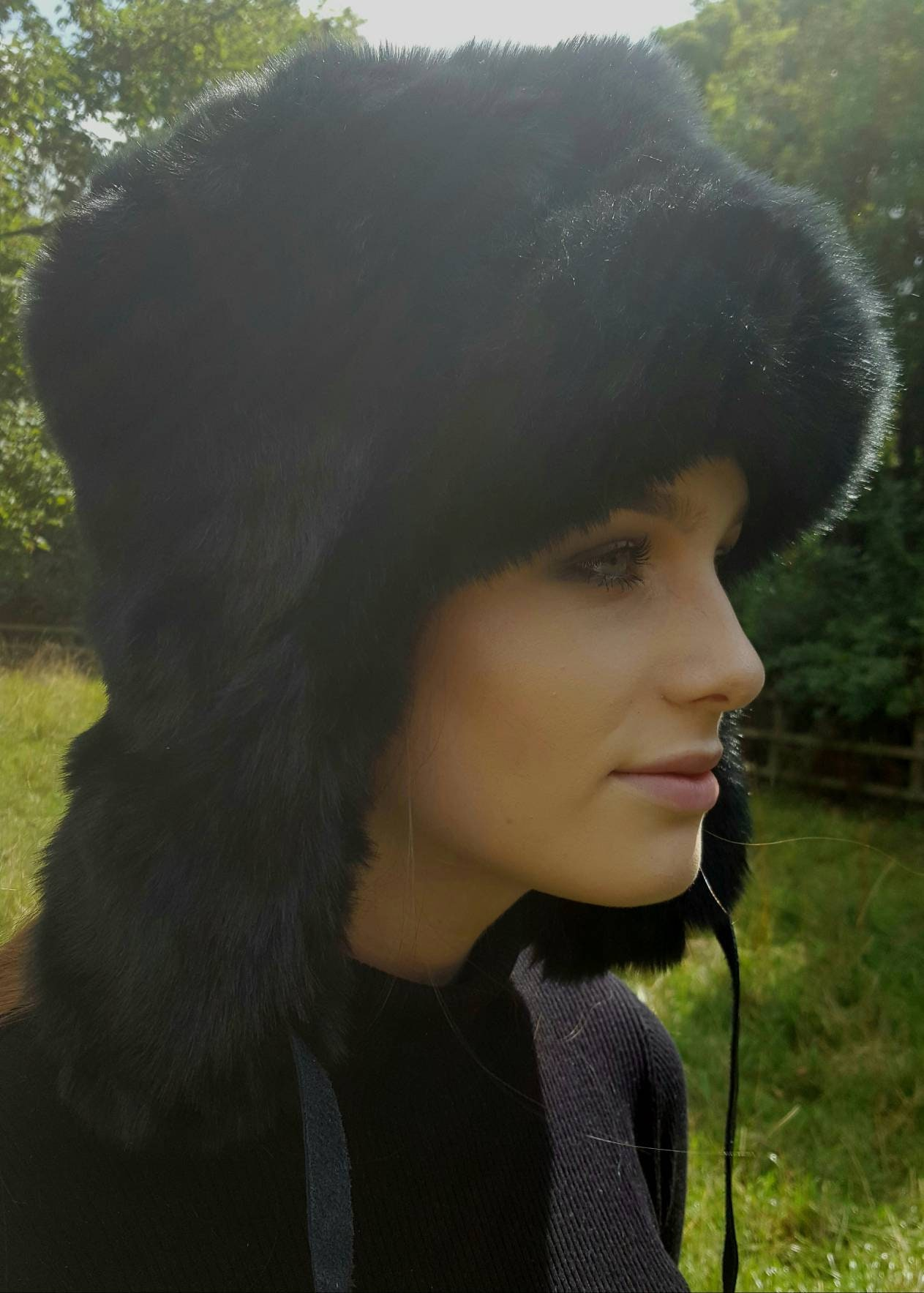 55dd39d13eb Black Russian Style Trapper with Faux Fur Fur and Fleece Lining and ...