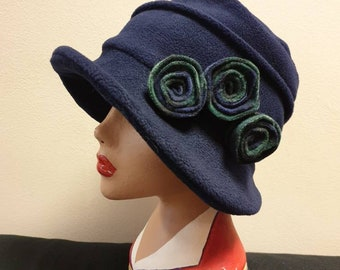 Navy Blue Fleece Hat-Tartan Flowers-Fully Fleece Lined-Downton Abbey Hat-Womens Fleece Hat-Womens Fleece Winter Hat-Ladies Winter Hat