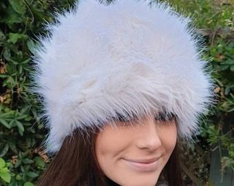 Off White Faux Fur Hat Russian Style with Cosy Polar Fleece Lining-Fur Hat-Fake Fur Hat-Winter Hat-Long Fur Hat-Cossack Hat-White Fur Hat