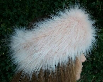 Pale Pink Faux Fur Headband-Neckwarmer- Earwarmer-Head Wrap-Fur Head Wrap- Handmade in Lancashire England