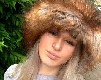 Fabulous Wide Brim Deep Top-Oversized Luxury Faux Fox Bucket Hat-Fox Fur-Fuzzy Bucket Hat-Festival Hat-Fur Hat-Fake Fur Hat-Rave Hat
