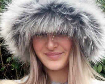 Silver and Grey Faux Fur Bucket Hat-Festival Hat-Floppy Hat-Fur Hat-Fake Fur Hat-Rave Hat-Silver Fur Hat-Grey Fuzzy Bucket Hat-Silver Hat