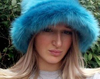 Stunning Super Luxury  Faux Fur Bucket Hat-Peacock Blue-Fuzzy Bucket Hat-Festival Hat-Floppy Hat-Fur Ha-Rave Hat-Blue Bucket Hat