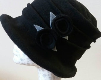 Black Fleece Cloche Hat with Black Flower Detail.