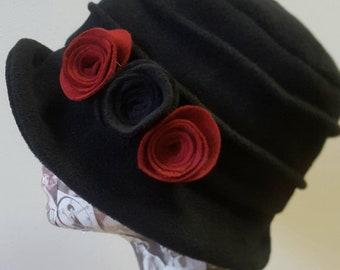 Handmade Black Fleece Hat With Cosy Fleece Lining Red and Black Flowers
