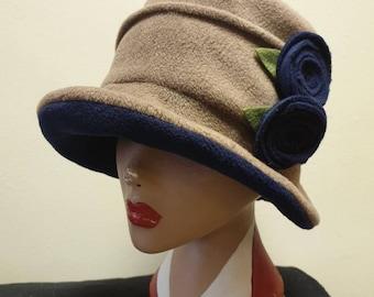 Camel and Navy Fleece Cloche Hat-Polar Fleece Lined--Downton Abbey Hat-Womens Fleece Hat-Womens Fleece Winter Hat-1930's-Ladies Winter Hat