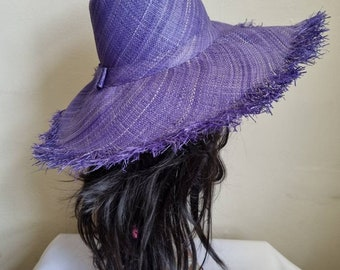 Purple/Lilac Boho Large Brimmed Raffia Sun Hat-Purple Sun Hat-Raffia Hat-Straw Hat-Floppy Sun Hat- Boho Sun Hat- 60's Sun Hat