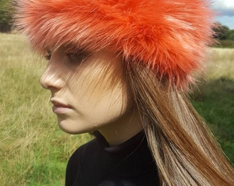 Tangerine Faux Fur Headband / Neckwarmer / Earwarmer-Head Wrap-Fur Head Wrap- Handmade in Lancashire England