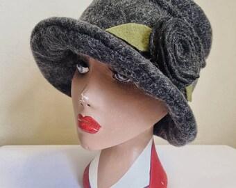 Fully Polar Fleece Lined Dark Grey Wool Hat-Cloche Hat- Wool Hat-Downton Abbey Hat-1930's-Womens Winter Hat-Womens Felt Hat-Flapper Hat-