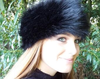 Long Black Faux Fur Headband-Neckwarmer-Earwarmer-Head Wrap-Fur Head Wrap-Handmade in Lancashire England
