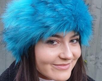 Aqua Blue Luxury Faux Fur Headband / Neckwarmer / Earwarmer-Head Wrap-Fur Head Wrap- Handmade in Lancashire England
