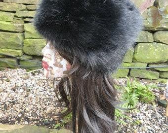 Posh Black Luxury Faux Fur Hat with Polar Fleece Lining-Fake Fur Hat- Black Fur Hat- Black Fur- Russian Hat- Pill Box Hat