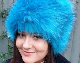 Aqua Blue Luxury Long Pile Faux Fur Hat- Polar Fleece Lining-Fur Hat-Fake Fur Hat-Winter Hat-Long Fur Hat-Cossack Hat-Blue Fur Hat